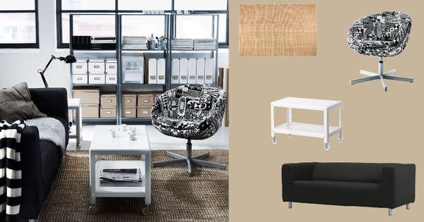 ein wohnzimmer eingerichtet mit skruvsta drehsessel mit. Black Bedroom Furniture Sets. Home Design Ideas