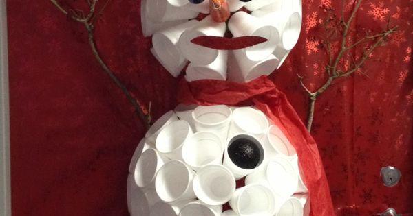 Door Snowman Made From Styrofoam Cups Classroom Door