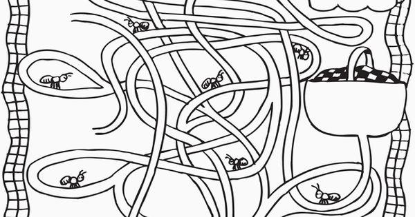 ant farm maze color sheet