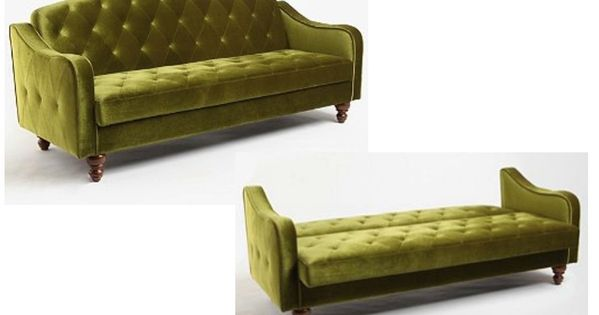 Green Velvet Sofa Bed Tufted Futon Couch Sleeper