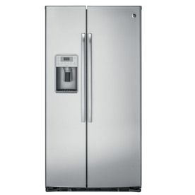 2600 At Lowe S Shop Ge Profile 22 1 Cu Ft Counter Depth Side By Side Refrigerator With Ice Ma Stainless Steel Counters Side By Side Refrigerator Counter Depth