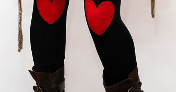 Red heart hand PAINTED leggings, tights in navy by NetieArt on Etsy
