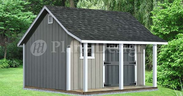 14 X 12 Backyard Storage Shed With Porch Plans P81412 Free Material List Backyard Storage Sheds Shed With Porch Backyard Storage