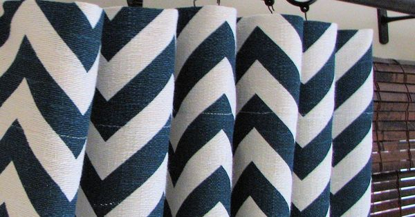 Navy Chevron Curtains - fun shower curtain?