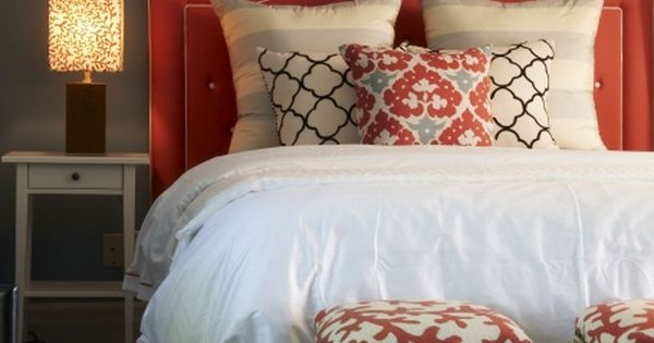 Preppy, good color scheme, simple... Beautiful red gray blue bedroom design with