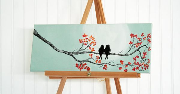 Wedding Gift Paintings: Original Canvas Painting Love Bird Painting Mint And Coral