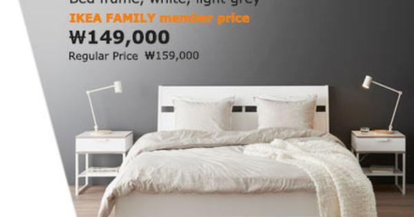 Trysil Bed Frame White Light Grey 150x200 Cm Bed Frame Bed White Bedding