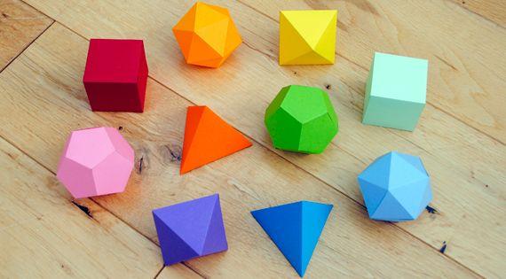 Platonic solids garland. 3d paper shapes