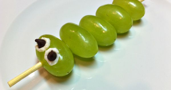 caterpillar kabobs, a healthy snack!