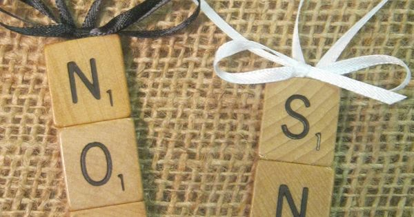 Scrabble Tile Christmas Ornaments -- noel, xoxo, home, hope, joy, lol