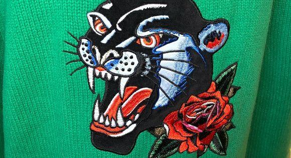 Sandro Paris Green Sweater w Black Panther & Rose SANDRO