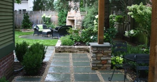 Great sideyard and awesome fireplace in the background.