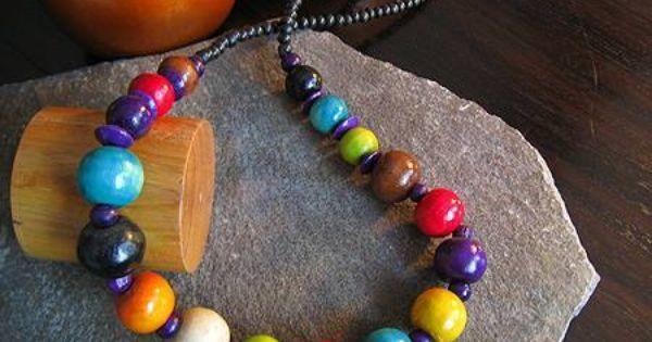 Korale Drewniane Egzotyczne Wesole Kolorowe Kulki 4403100247 Oficjalne Archiwum Allegro Beaded Beaded Necklace Necklace