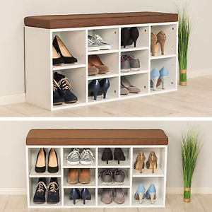 Shoe Rack Storage Stand With Seat Wooden Bench Shelf Organiser