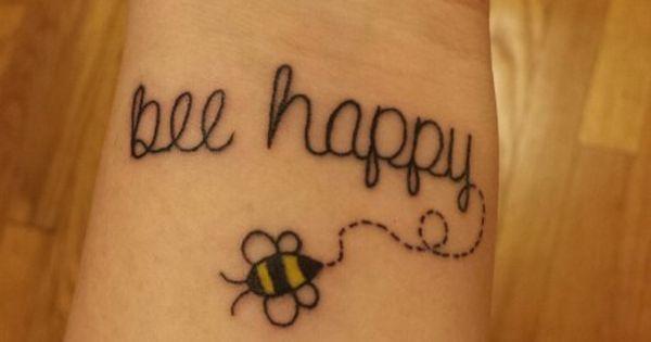 Bee happy tattoo simple fun tattoo | Tattoos | Pinterest ...