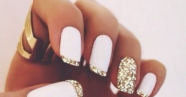 nail polish gold nails white nails gold tips sparkly nail glitter gold