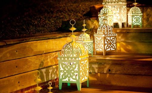 A cute set of simple moroccan lanterns used outdoors in a garden moroccan lanterns www - Adorable moroccan decor style ...