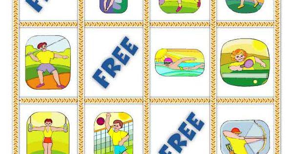 olympic games bingo cards