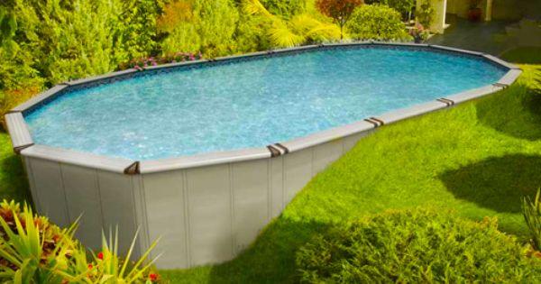 Semi Inground Pool Sloped Backyard Backyard Pool Patio