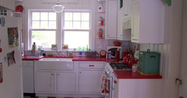 Cottage Whimsy Red Countertops By Corian And Farm Sink In Retro Kitchen Simonds Company