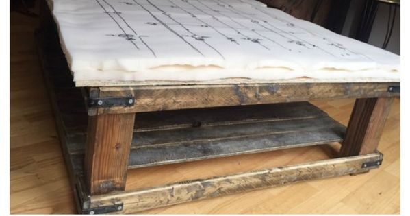 Diy oversized tufted ottoman coffee table upholstered top for Diy ottoman bed frame