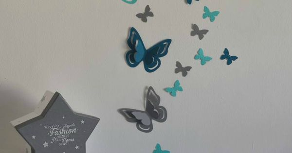 Stickers papillons 3d turquoise gris bleu canard p trole for Stickers papillon chambre bebe