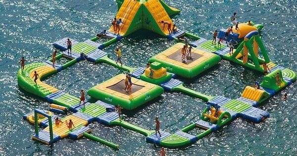 The Ultimate Floaty Island Playground... the kid in me is really excited