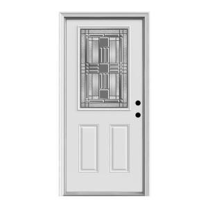 Jeld Wen 36 In X 80 In Cordova 1 2 Lite Primed Premium Steel Prehung Front Door With Brickmould Thdqc228300017 The Home Depot Jeld Wen Craftsman Style Doors Steel Entry Doors