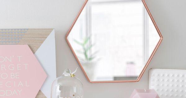Miroir en m tal cuivr h 31 cm t te lit pinterest for Miroir hexagonal cuivre