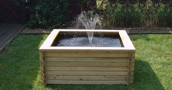 Raised square wooden fish pond fish tanks pinterest for Square fish pond