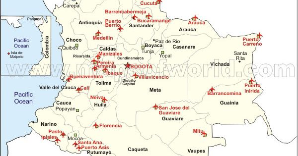 colombia airports map made by mapsofworld  it lacks the
