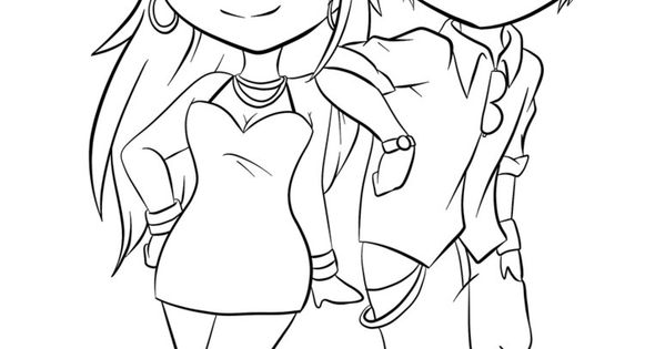 Anime chibi couple coloring pages