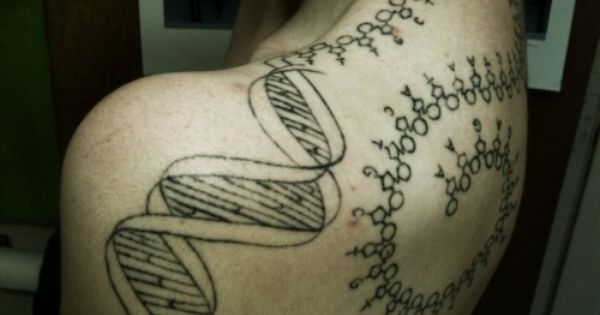 Look, it's my new shoulder tattoo! It's sort of the classic DNA