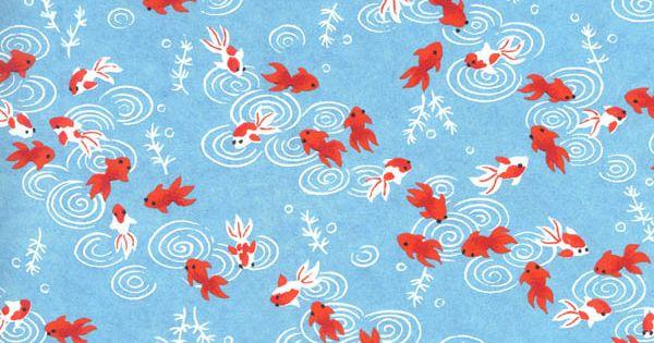 Yuzen japanese paper washi koi chiyogami pattern for Koi fish patterns
