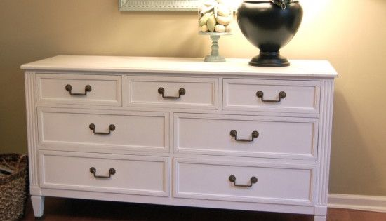 Painted dresser turned into a tv stand... used Behr Hushed White paint
