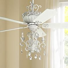 Feminine And Soft This Ceiling Fan Is Finished In Rubbed White With Matching Blades And An Integrated Coordi Ceiling Fan Chandelier Ceiling Fan Chandelier Fan