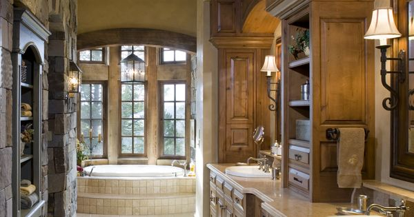 Master Bath Stone Wall Wood Beam Ceiling Wall mounted