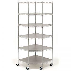 6 Tier Corner Chrome Wire Shelving System With Casters Wheels 28x28x72 Corner Shelves Corner Shelf Unit Shelves