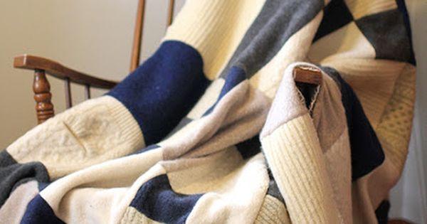 Felted Sweater Blanket Diy 22