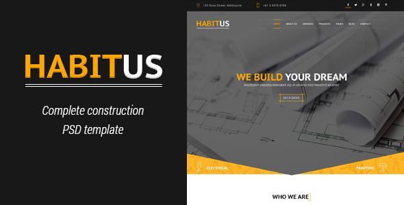 Habitus Construction Psd Template Psd Templates Templates