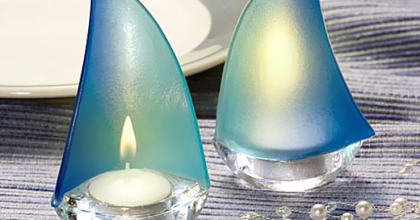 Blue sailboat tea light holders tea light holder beaches and wedding - Sailboat tealight holders ...