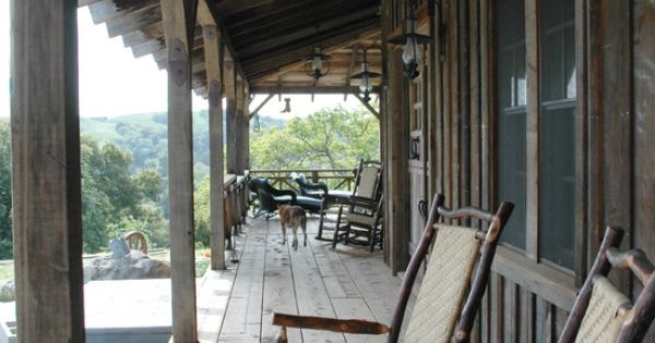 Board And Batten Siding Creates A Rustic Cowboy Porch