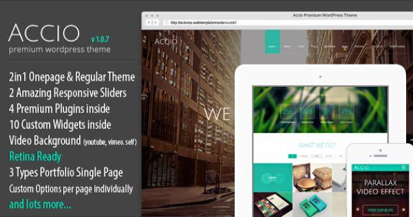 Accio Responsive Onepage Parallax Agency Wordpress Theme Wordpress Theme Responsive Joomla Templates Template Site