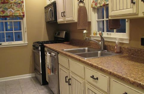 200 kitchen cabinet makeover glue sheets of bead board for Best paint for kitchen cabinets oil or latex