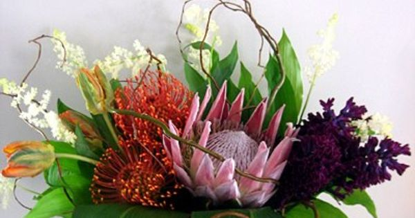 Tropical arrangement with king protea pin cusion protea for King protea flower arrangements