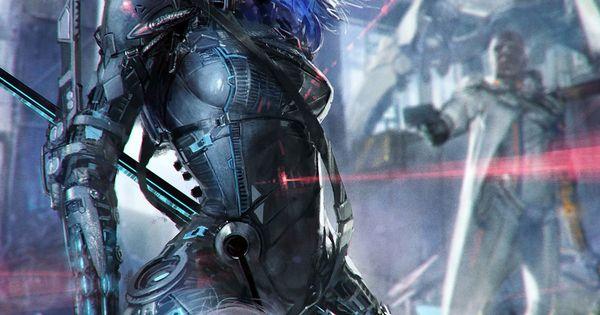 Women Warrior Artwork Sword Rain Cyberpunk Cyberpunk: PARK PYEONGJUN, Republic Of Illustrator, Applibot