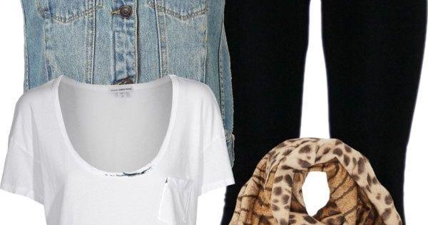 ! denim jean vest leggings leopard cheetah scarf brown leather bag Clothes