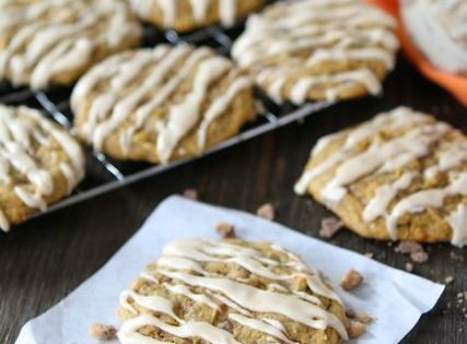 Pumpkin Toffee Cookies with Salted Caramel Glaze | recipes | Pinterest ...