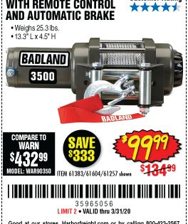 Badland 3500 Lbs Atv Utility Winch For 99 99 Harbor Freight Tools Electric Winch Winch