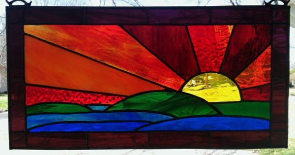 Sunset Stained Glass Window Panel Large By Suzanneemerson